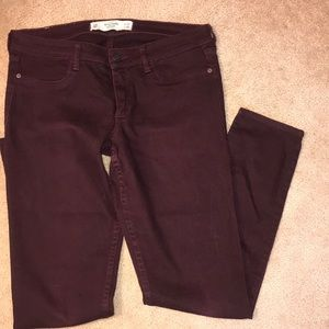 A&F Maroon Jeans